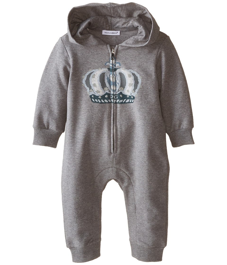 Dolce & Gabbana - Zip Up Crown One-Piece (Infant) (Grey) Men's Jumpsuit & Rompers One Piece