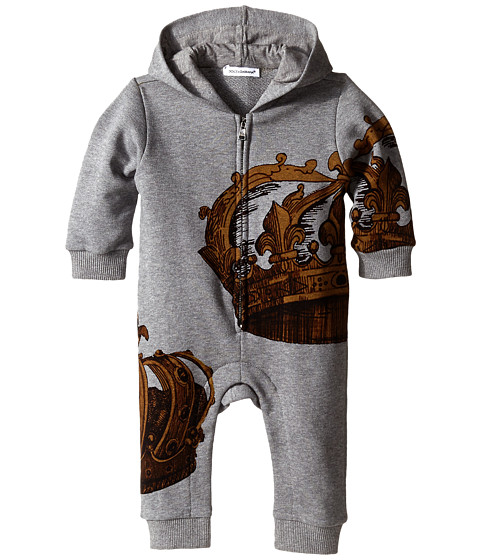 Dolce & Gabbana - Embroidered Crown One-Piece (Infant) (Grey) Men's Jumpsuit & Rompers One Piece