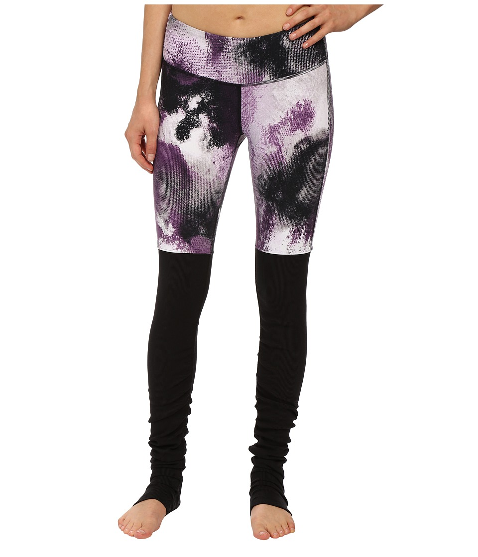 ALO - Goddess Ribbed Legging (Purple Pennant Smoke Print/Black) Women's Workout