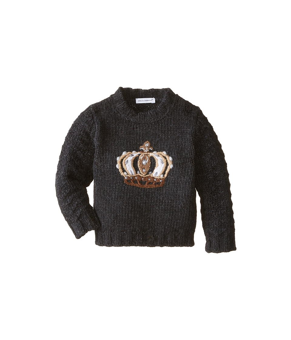 Dolce & Gabbana - Embroidered Crown Sweater (Infant) (Black) Men's Sweater