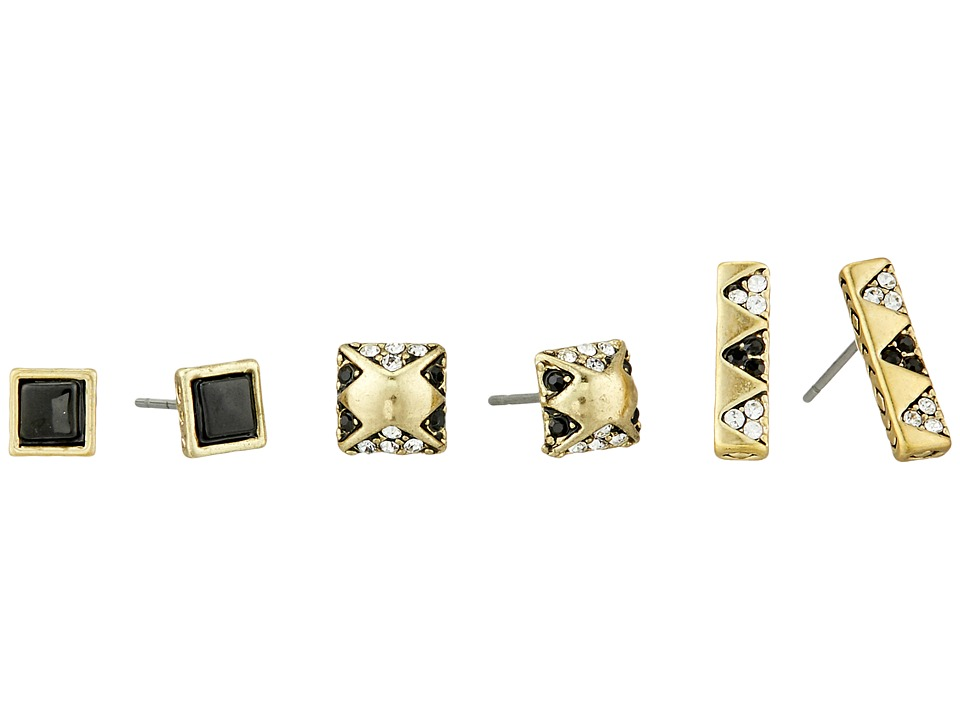 House of Harlow 1960 - Plateau Earrings Set (Gold Tone/Black II) Earring