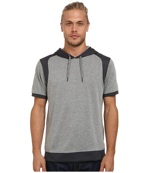 UNIONBAY - Fitz Short Sleeve Hoodie with Mesh, Color Block (Dark Medium Grey Heather) Men