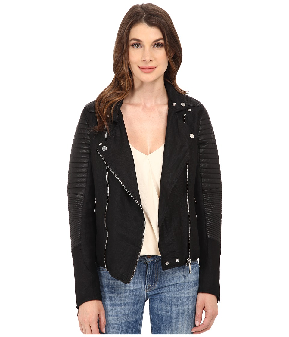 Blank NYC - Two-Tone Fabric w/ Vegan Leather Moto Jacket (Black) Women's Coat