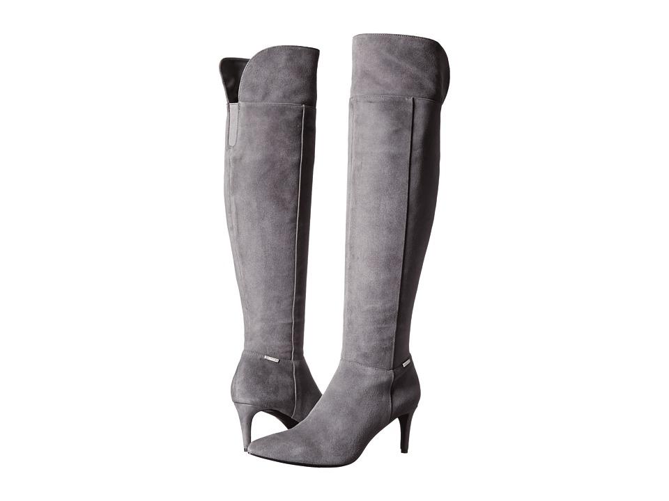 Calvin Klein - Clancey (Shadow Grey Kid Suede) Women's Dress Zip Boots
