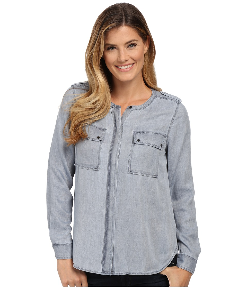 TWO by Vince Camuto - Long Sleeve Pastel Fade Collarless Utility Shirt (Wash Orchid) Women's Long Sleeve Button Up