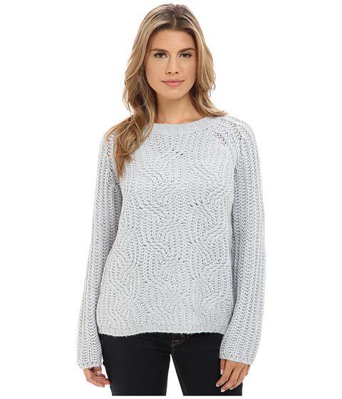 TWO by Vince Camuto - Mohair Blend Marled Cable Stitch Pullover (Morning Sky) Women