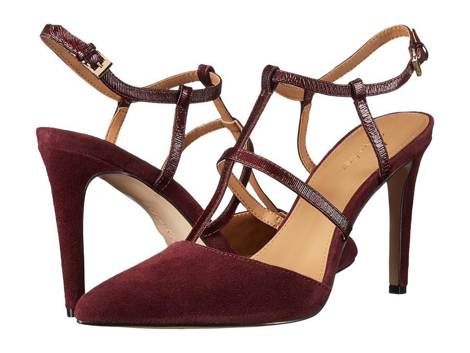 Calvin Klein - Coreene (Dark Cherry Suede/Liquid Patent) High Heels