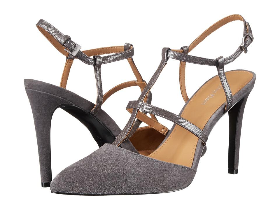 Calvin Klein - Coreene (Shadow Grey Suede/Liquid Patent) High Heels