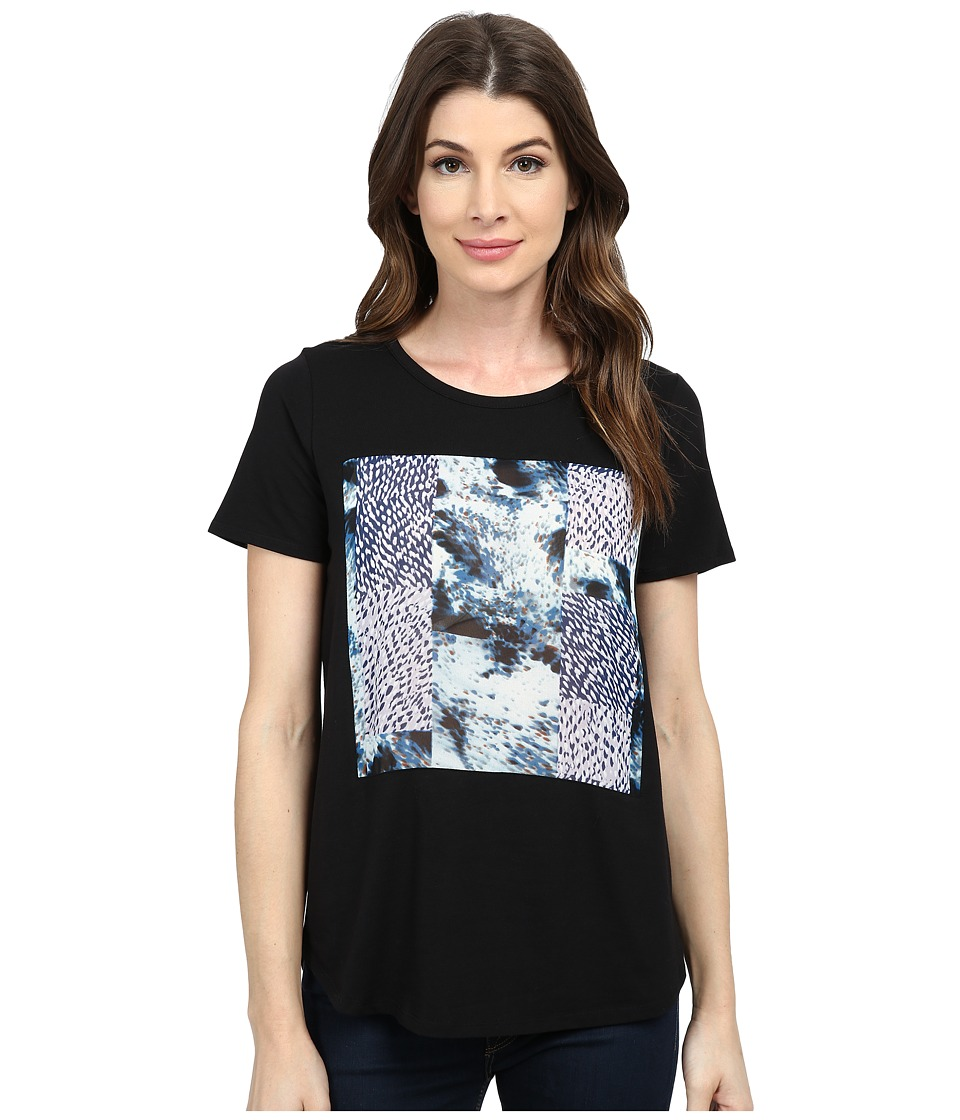 TWO by Vince Camuto - Short Sleeve Scenic Vapors Patchwork Tee (Rich Black) Women's T Shirt