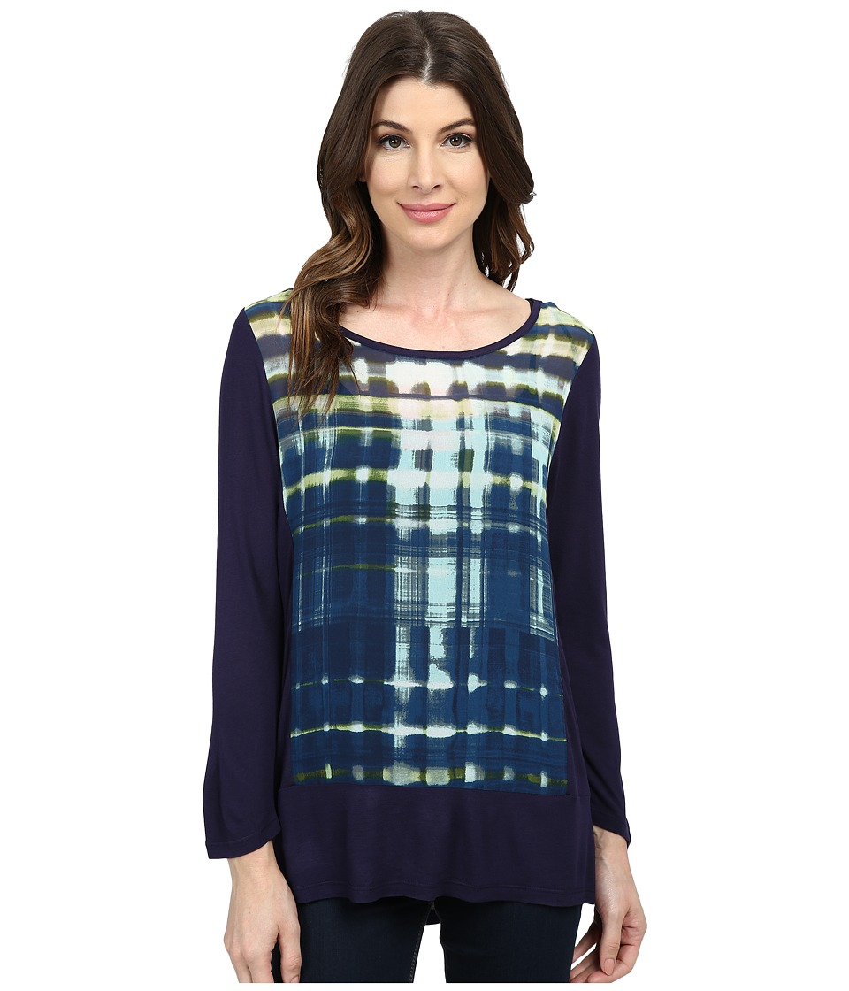 TWO by Vince Camuto - Grid Reflections Mix Media Splitback Tee (Black Orchid) Women
