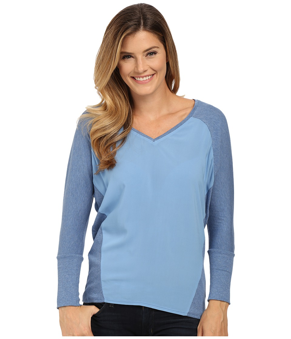 TWO by Vince Camuto - V-Neck Mixed Media Saturday Shirt (Chambray Heather) Women's Long Sleeve Pullover