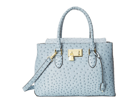 London Fog - Darby Satchel (Powder Blue Ostrich) Satchel Handbags