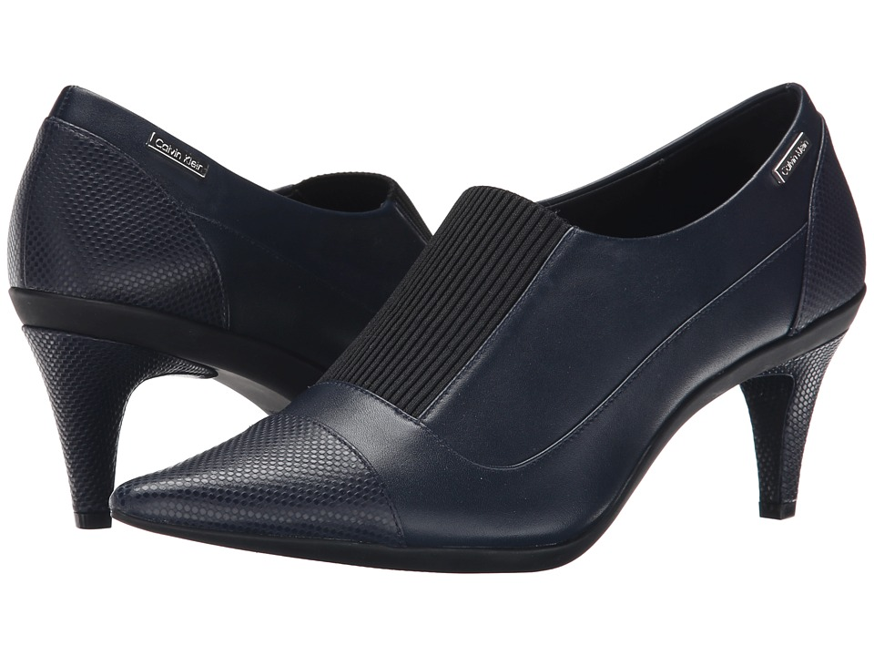 Calvin Klein - Greta (Deep Navy Leather/Elastic) High Heels