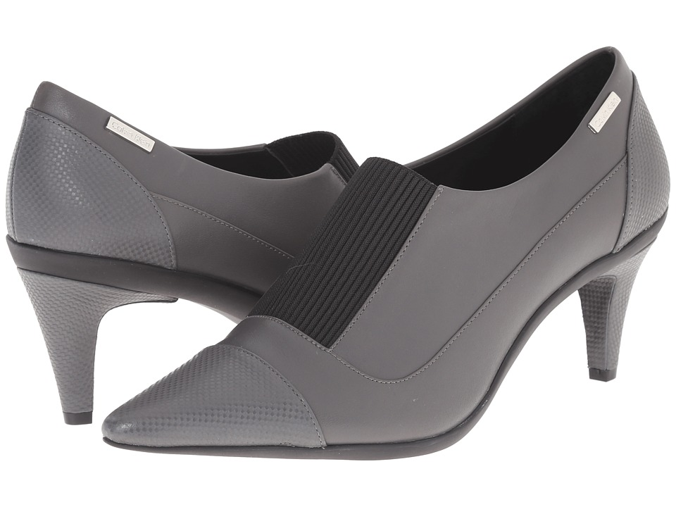 Calvin Klein - Greta (Shadow Grey Leather/Elastic) High Heels