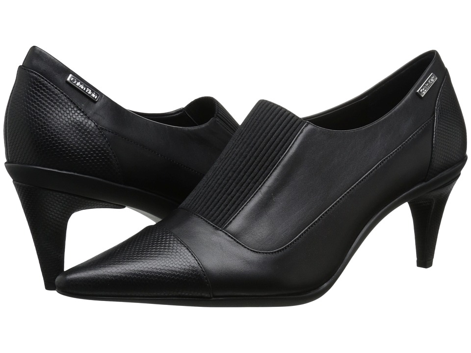 Calvin Klein - Greta (Black Leather/Elastic) High Heels