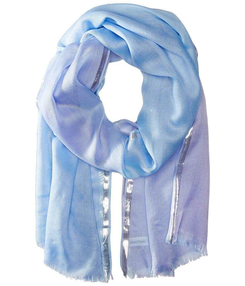 Calvin Klein - Color Block Lurex Border Crepe Wrap (Lavender) Scarves