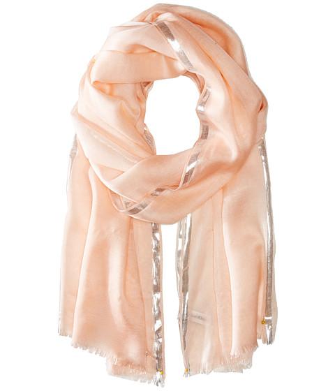 Calvin Klein - Color Block Lurex Border Crepe Wrap (Blush) Scarves