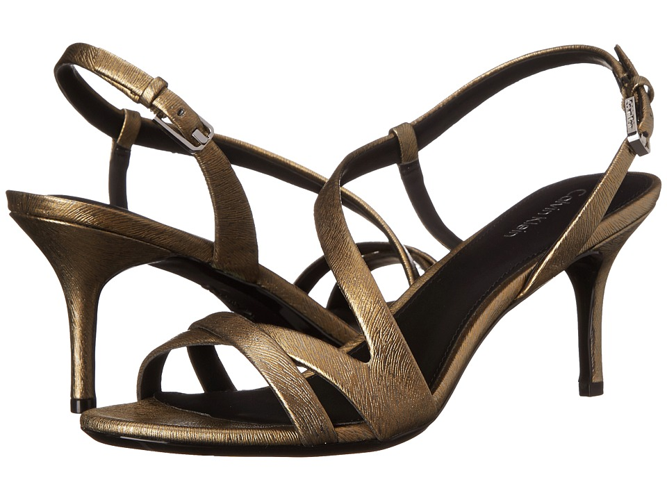 Calvin Klein - Lorren (Dark Gold Leather) Women's Dress Sandals
