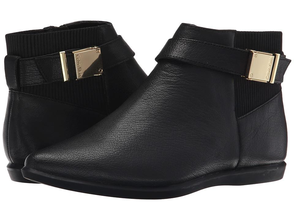 Calvin Klein - Voletta (Black Leather) Women's Dress Zip Boots
