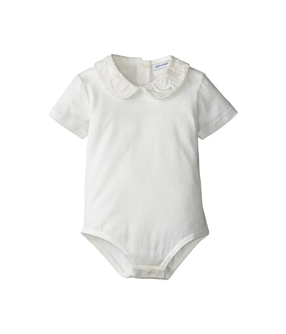 Dolce & Gabbana - Ceremony Collared Jumper (Infant) (White/White) Women's Jumpsuit & Rompers One Piece