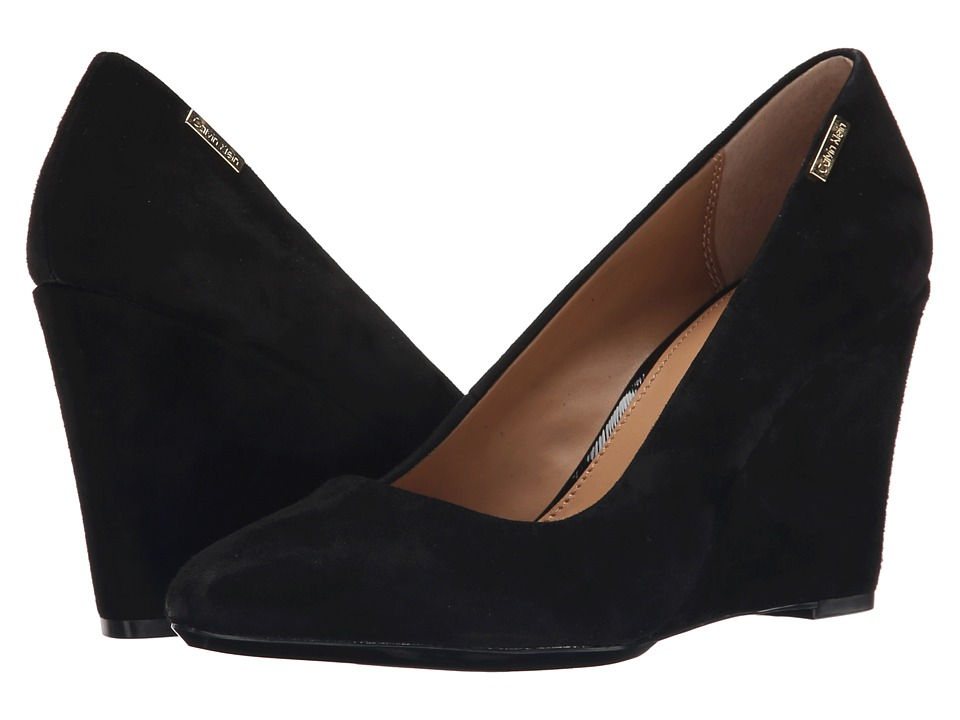 Calvin Klein - Celesse (Black Kid Suede) Women's Wedge Shoes