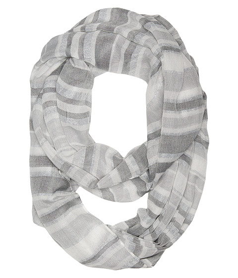 Calvin Klein - Striped Metallic Woven Infinity (Gray) Scarves