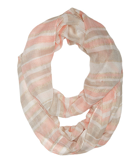 Calvin Klein - Striped Metallic Woven Infinity (Latte) Scarves