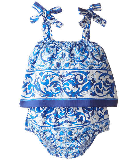 Dolce & Gabbana - Mediterranean Print Dress Set (Infant) (White/Blue Print) Women's Active Sets