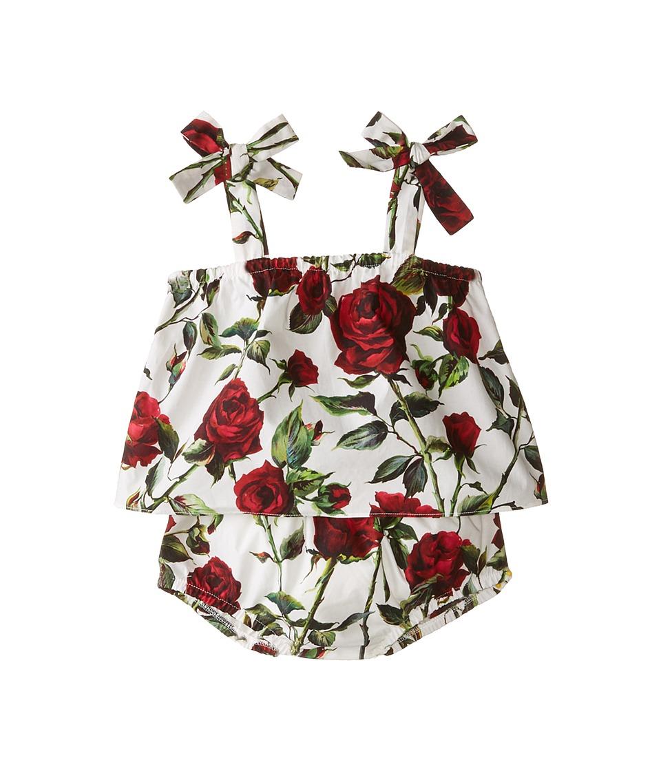 Dolce & Gabbana - Ceremony Print Dress Set (Infant) (White/Rose Print) Women