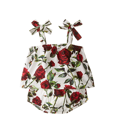 Dolce & Gabbana - Ceremony Print Dress Set (Infant) (White/Rose Print) Women's Active Sets