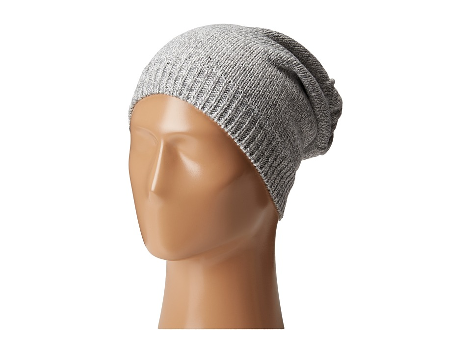 Plush - Fleece - Lined Knit Marled Hat (Heather Grey) Beanies