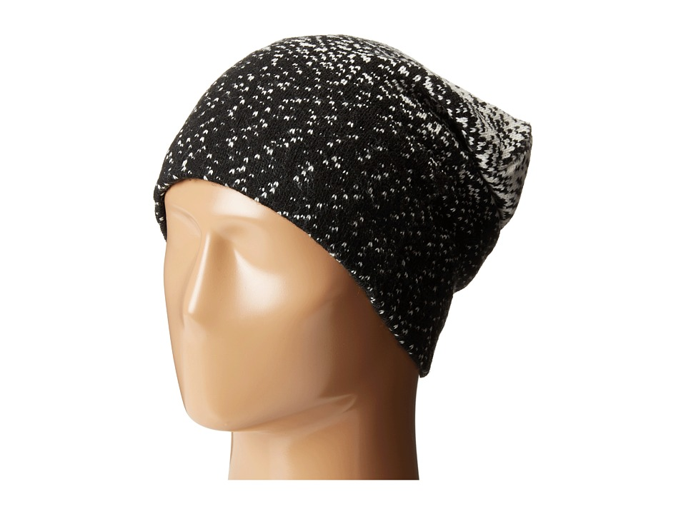 Plush - Fleece - Lined Ombre Dot Beanie (Black/White) Beanies