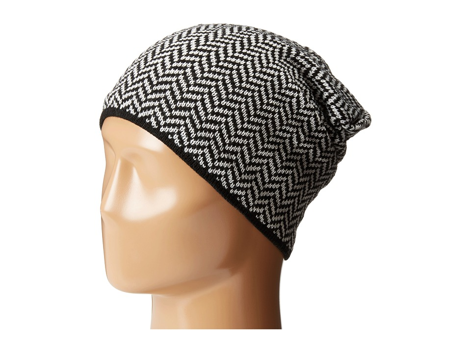 Plush - Fleece - Lined Herringbone Beanie (Black/White) Beanies