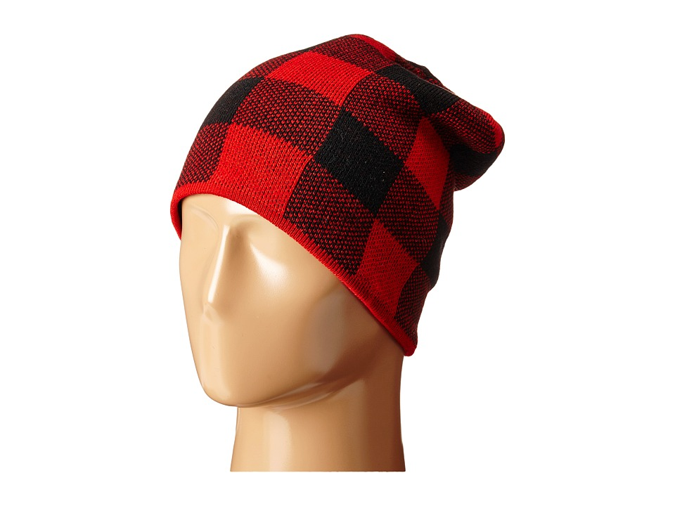 Plush - Fleece - Lined Plaid Beanie (Black/Red) Beanies