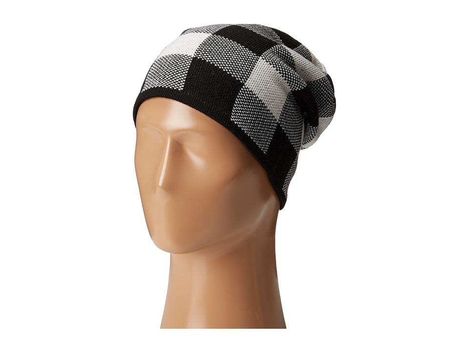 Plush - Fleece - Lined Plaid Beanie (Black/White) Beanies