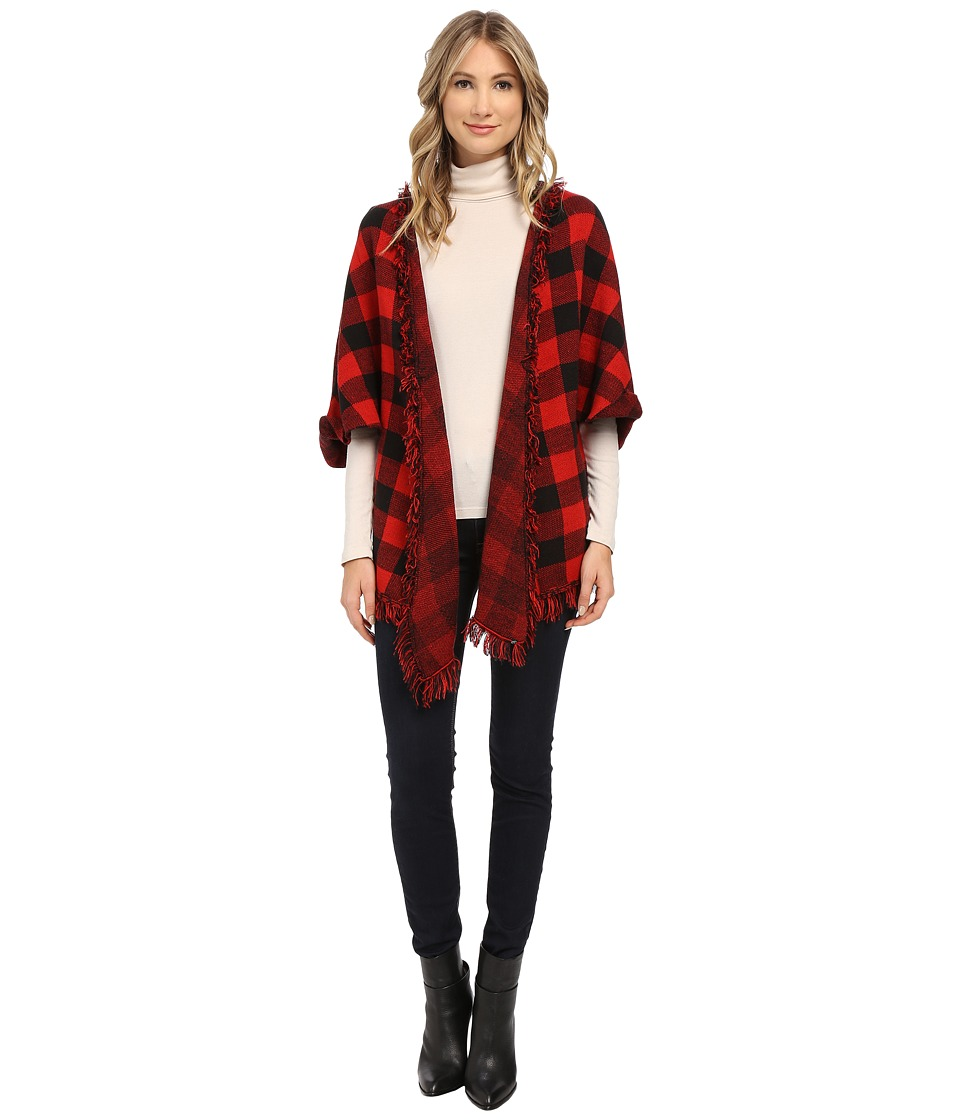 Plush - Plaid Knit Poncho (Black/Red) Women's Sweater