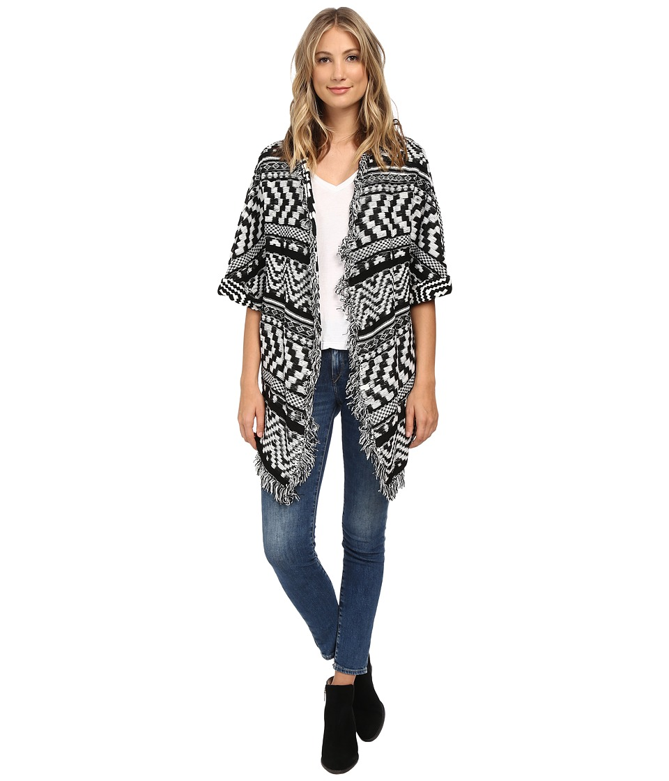 Plush - Geo Knit Poncho (Black/White) Women's Sweater