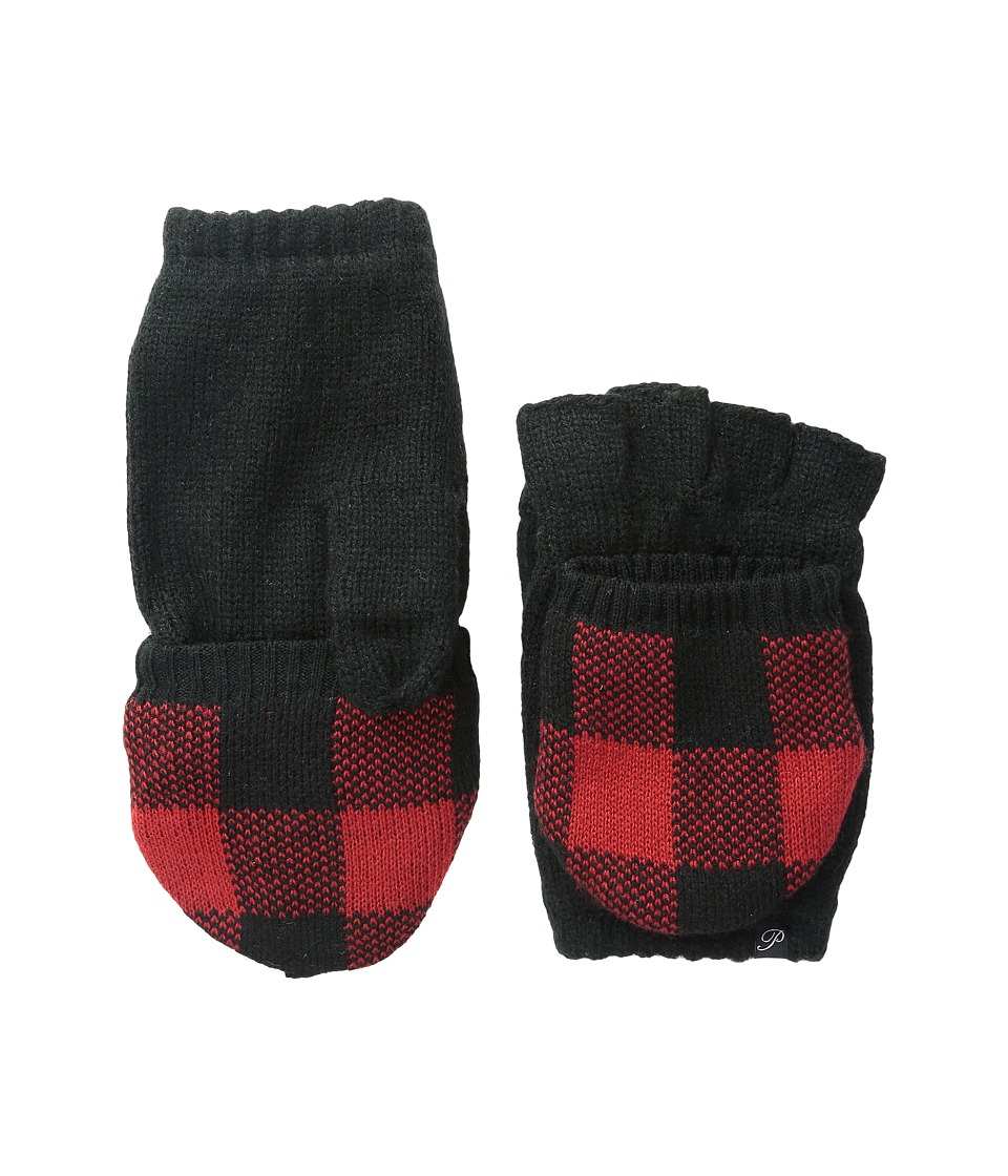 Plush - Fleece - Lined Plaid Texting Mittens (Black/Red) Over-Mits Gloves