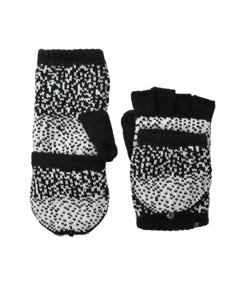 Plush - Fleece - Lined Ombre Dot Texting Mittens (Black/White) Over-Mits Gloves