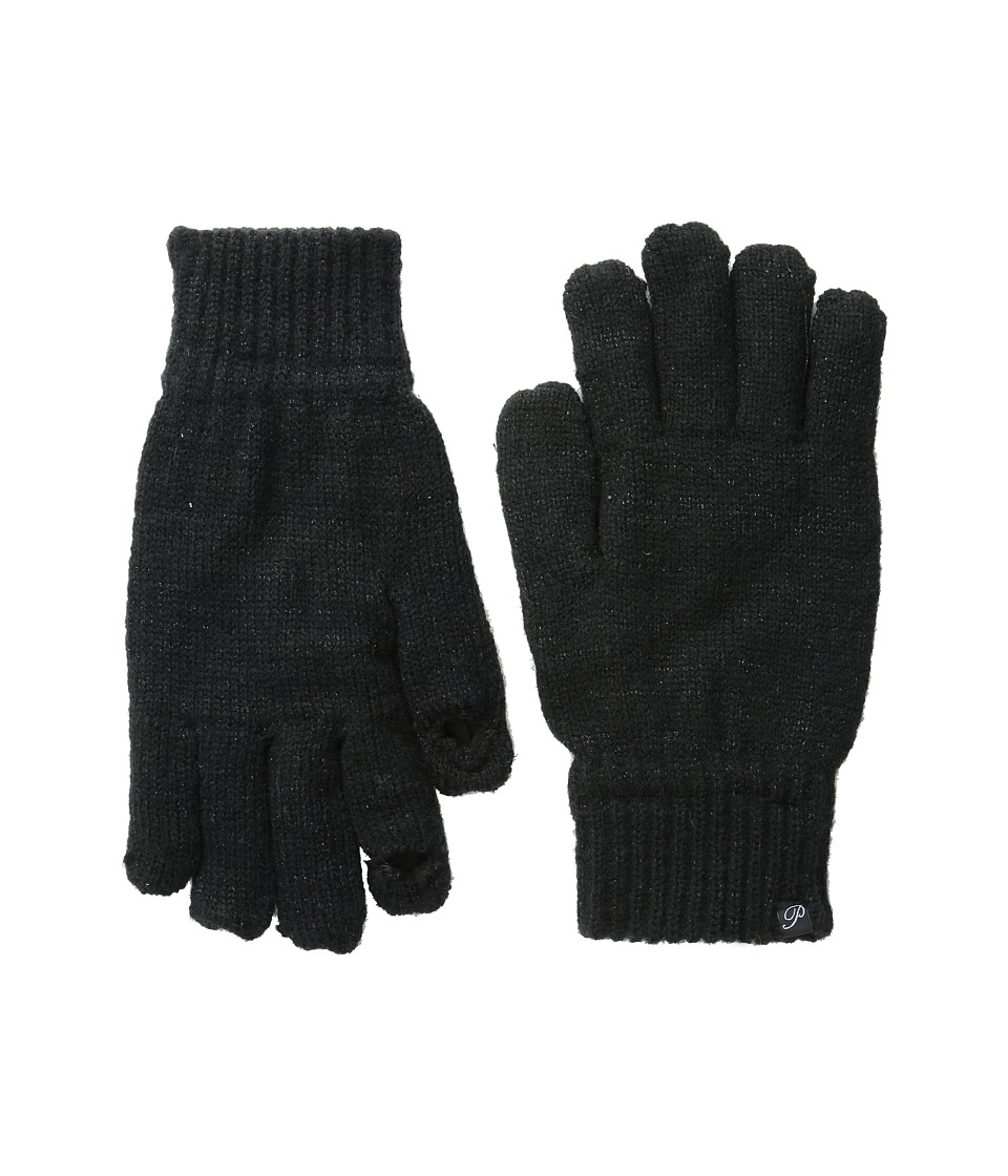 Plush - Fleece - Lined Metallic Knit Smartphone Gloves (Black) Dress Gloves