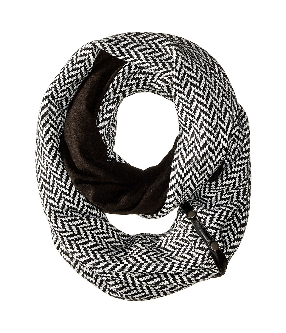 Plush - Fleece - Lined Herringbone Snap Scarf (Black/White) Scarves
