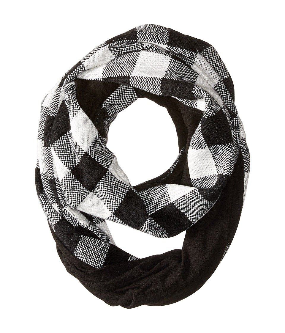 Plush - Fleece - Lined Plaid Infinity Scarf (Black/Red) Scarves