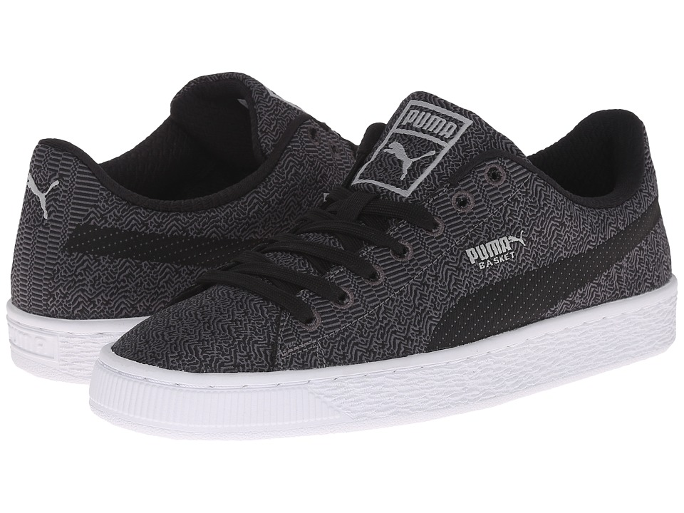 PUMA - Basket Classic Woven (Black/Steel Gray/Limestone Gray) Men