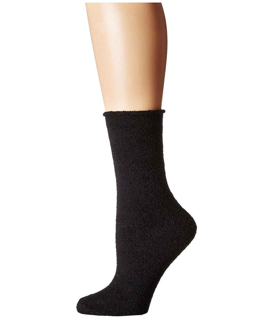 Plush - Rolled Fleece Socks (Black) Women's Crew Cut Socks Shoes