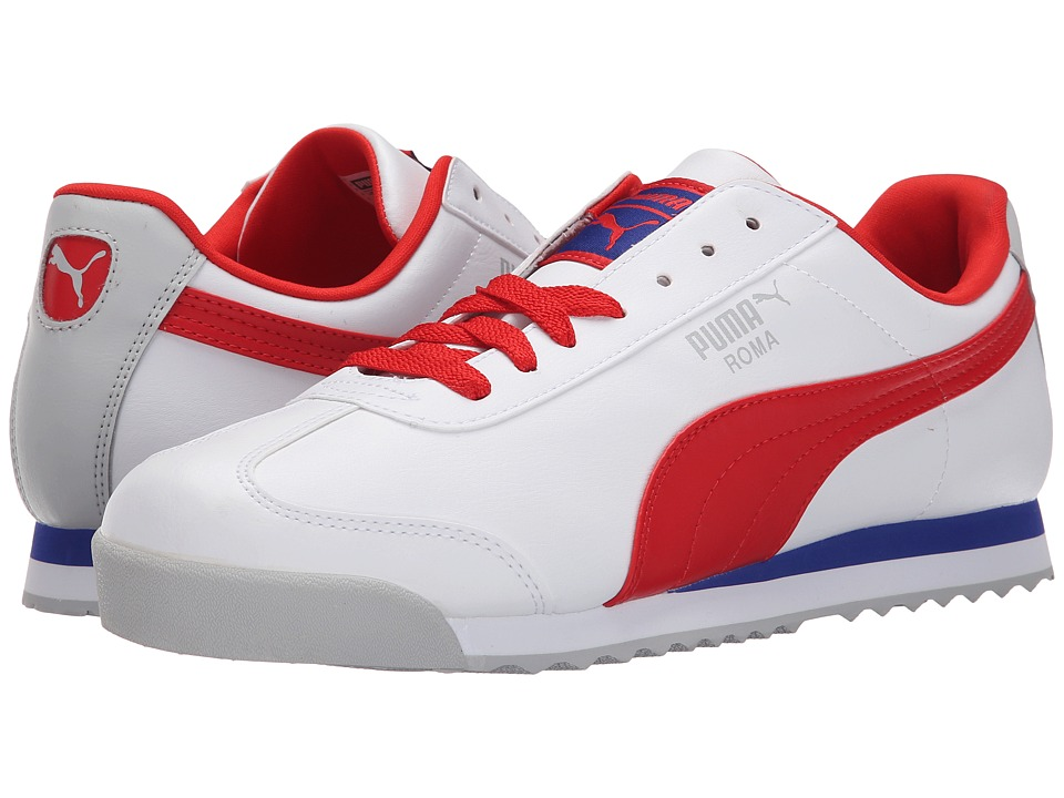 PUMA - Roma Basic (White/Flame Scarlet/Glacier Gray) Men's Shoes