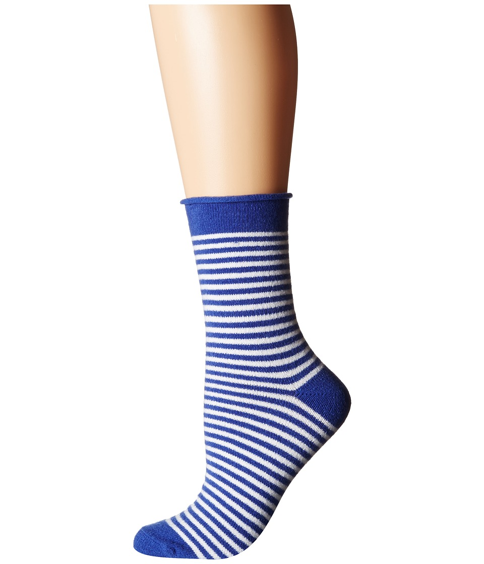 Plush - Thin Rolled Fleece Socks (Cobalt Stripe) Women's Crew Cut Socks Shoes