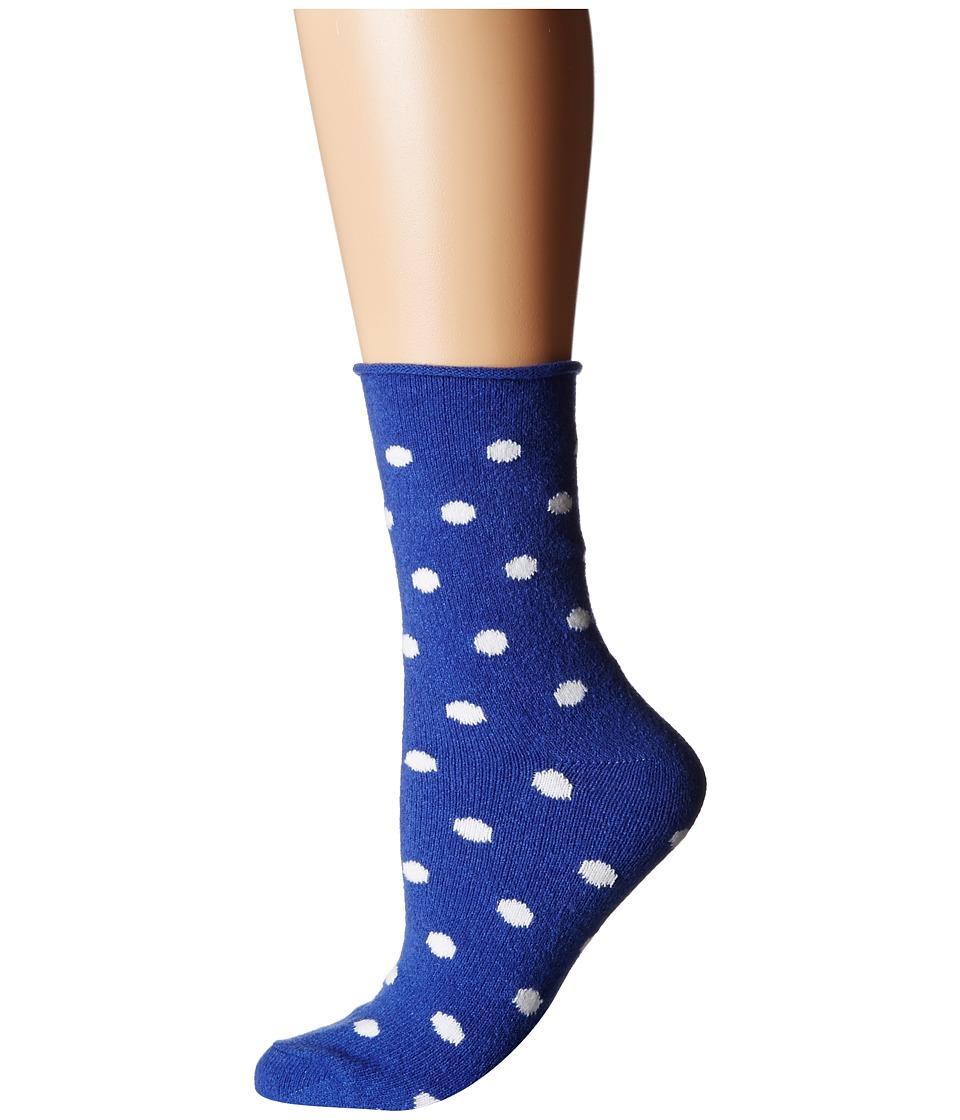 Plush - Thin Rolled Fleece Socks (Cobalt Dot) Women's Crew Cut Socks Shoes