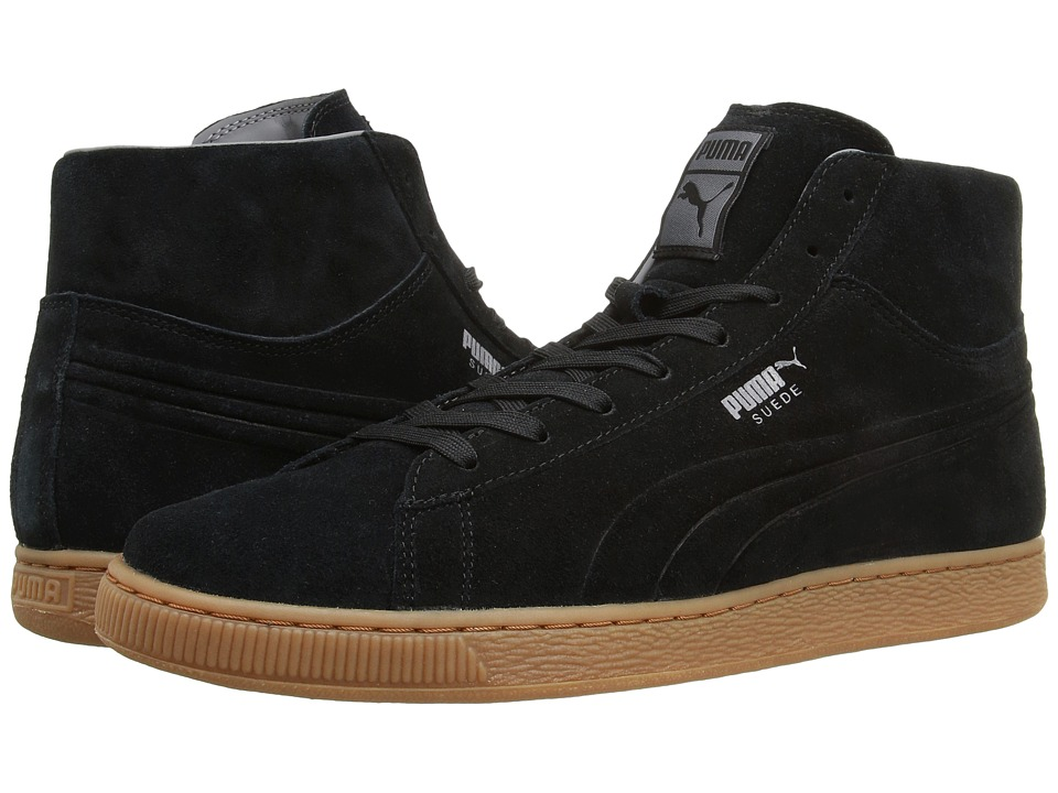 PUMA - Suede Mid Silicone Emboss (Black) Men's Shoes