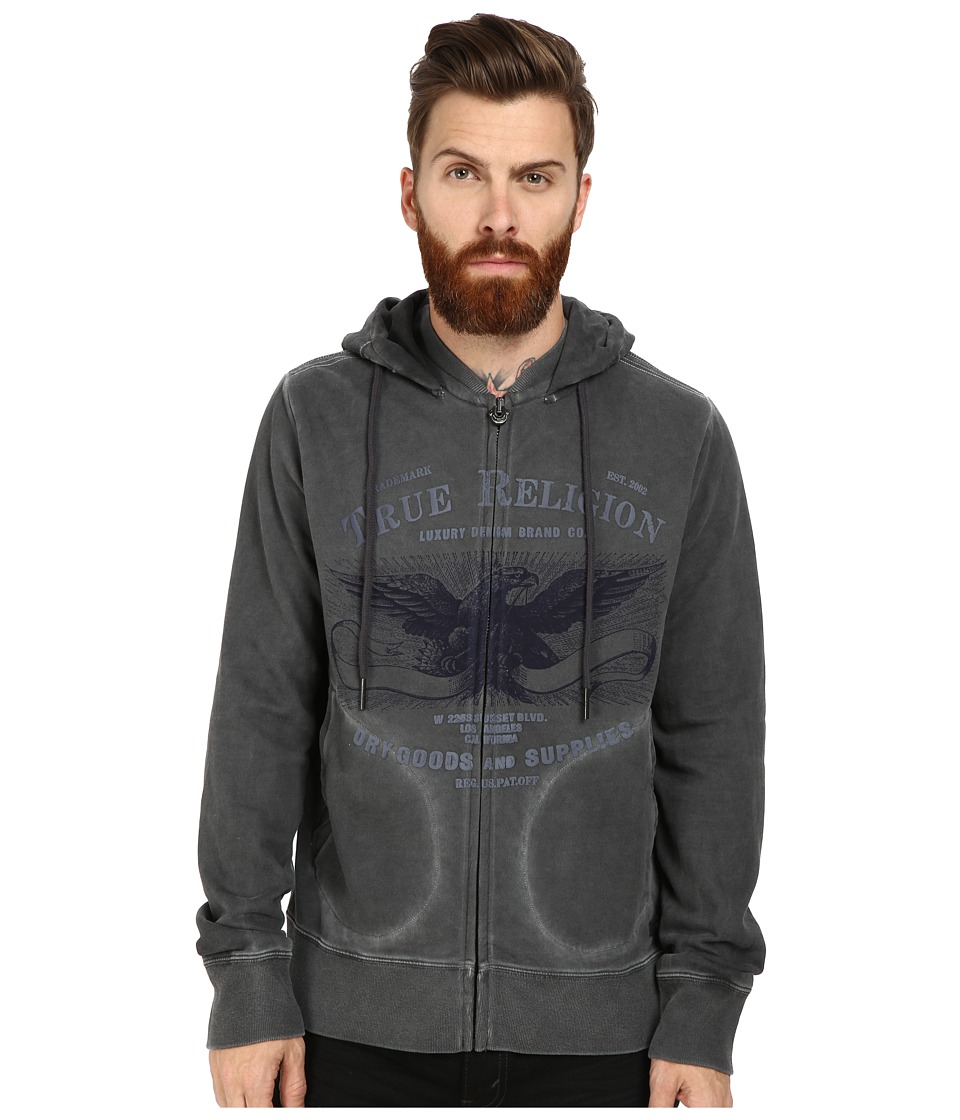 True Religion - Hoodie Zip Jacket Eagle (Jet Black) Men's Coat