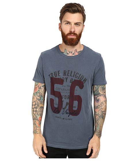 True Religion - 56 Crew T-Shirt Short Sleeve (Blue) Men's T Shirt
